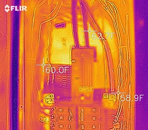 Infrared photo of electric service panel